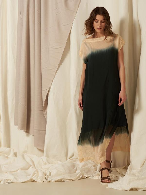 Kleid Seide lang mit Unterkleid