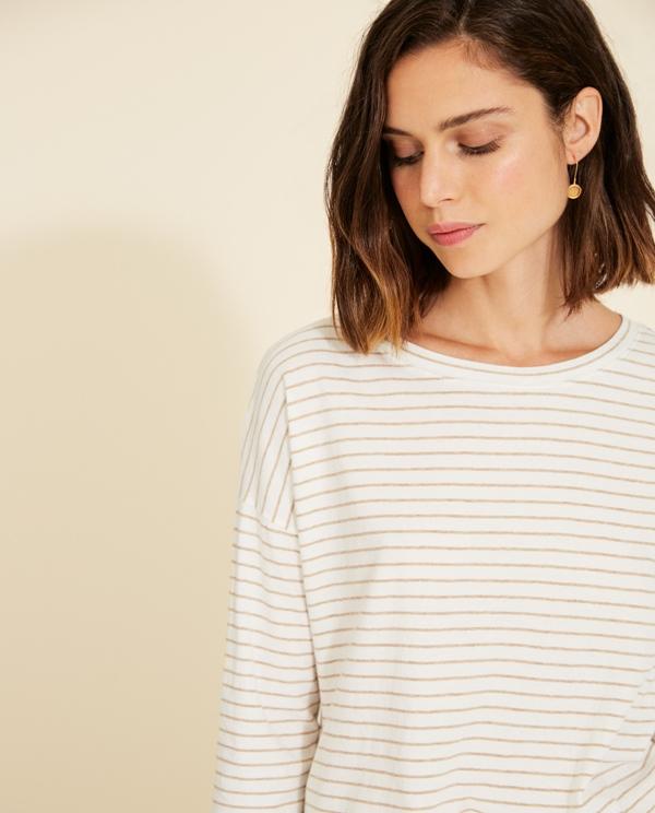 Shirt organic Cotton 3/4 Arm gestreift
