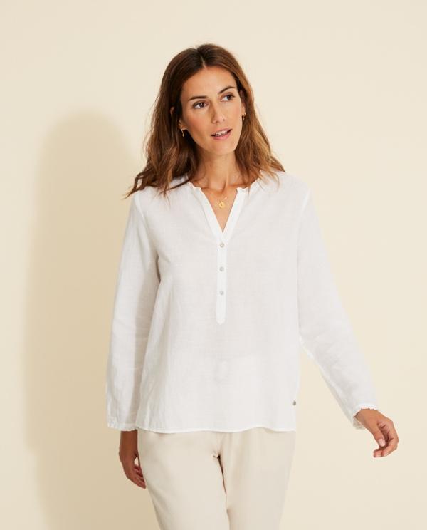 Langarm-Shirt Baumwolle/Leinen