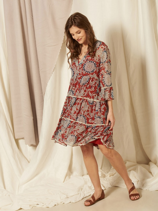 Kleid Eco-Viscose gemustert 3/4 Arm