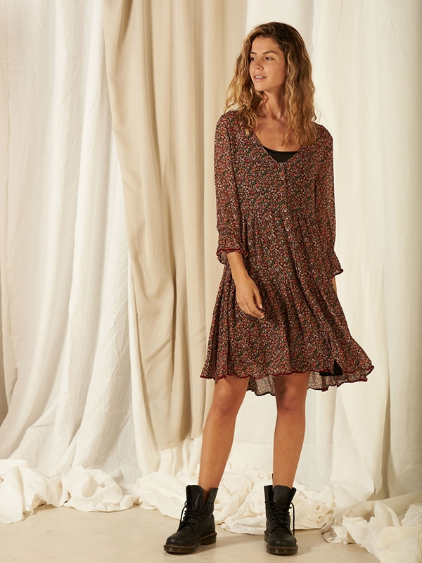 Volant-Kleid mit Unterkleid Eco-Viscose