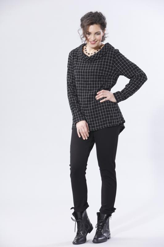 Bluse A-Form mit Kragen Karo-Muster