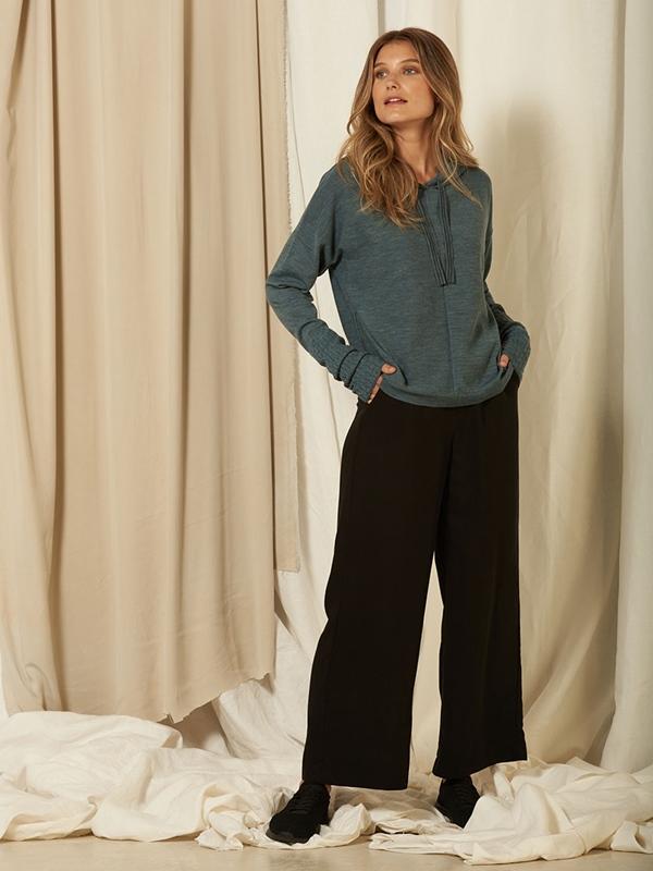 Pullover mit Kapuze Merino Wolle
