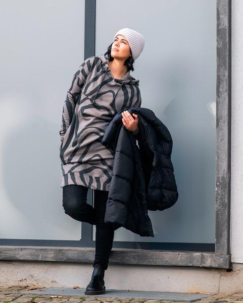 Lauren Kleid mit Kapuze gemustert Modal